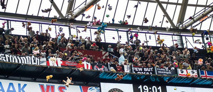 For the third time: Fans donate stuffed animals in a soccer match