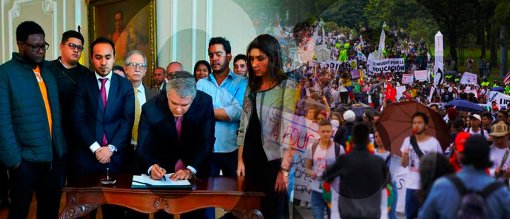 What are the results after 66 days of student's manifestations in Colombia?