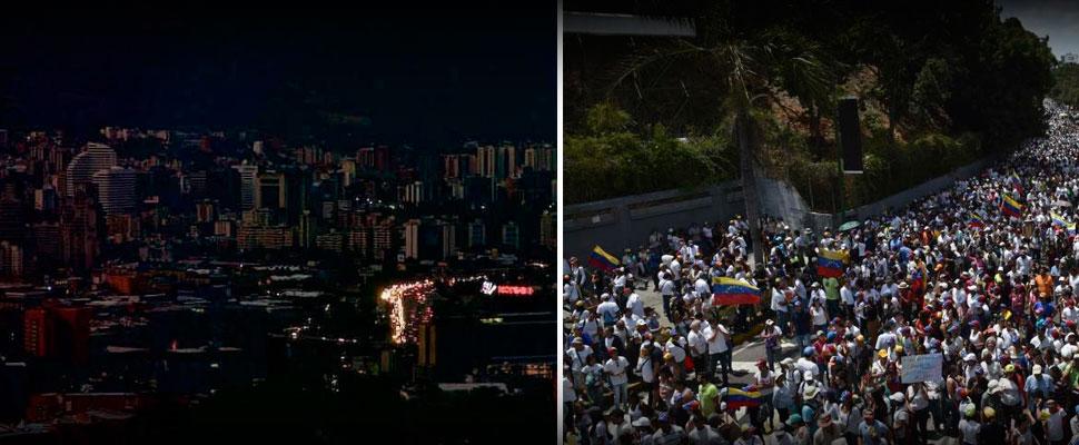 Caos en Venezuela: apagón y marchas multitudinarias