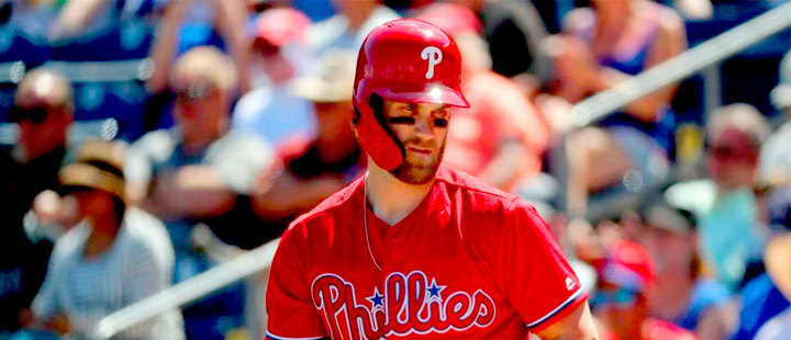 Bryce Harper arrives to the Philadelphia Phillies