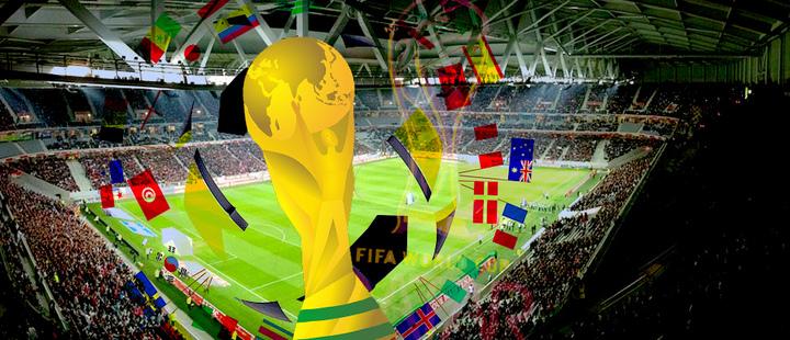 estadio de fútbol - copa del mundo - banderas de paises
