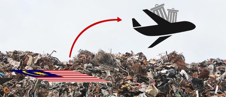 Avión con basura despegando de Malasia. Fondo de montaña de basura