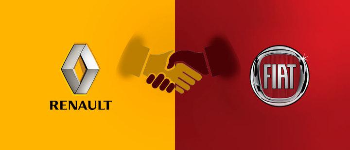 Lototipos de Fiat y Renault - Fondo amarillo y rojo - manos estrechadas