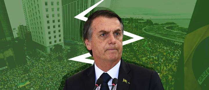 Jair Bolsonaro - Manifestaciones en Brasil - Fondo verde
