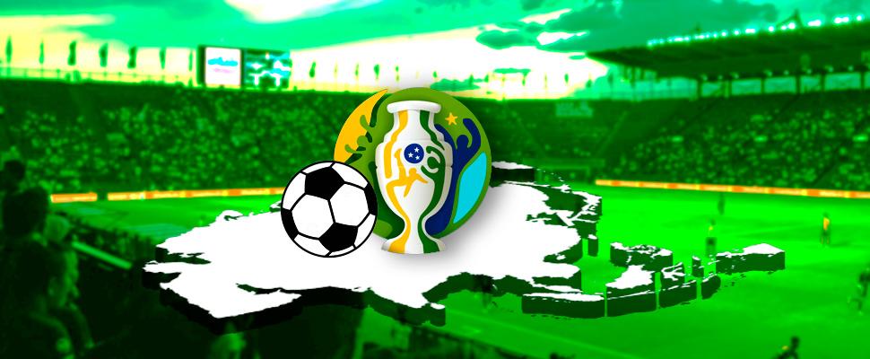Logo de la Copa América y balón de fútbol sobre el mapa de Asia, de fondo un estadio de fútbol