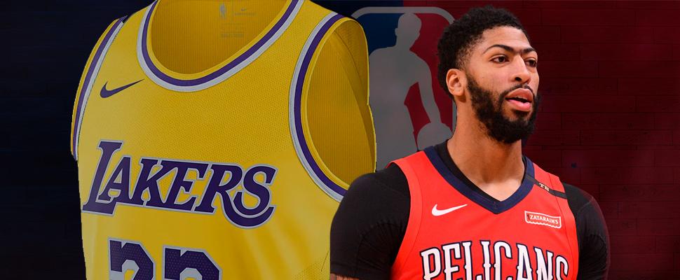Jersey de los Lakers y el basquetbolista Anthony Davis, de fondo el logo de la NBA