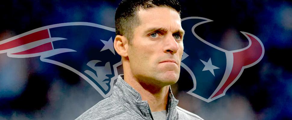 Nick Caserio y los logotipos de los New England Patriots y los Houston Texas