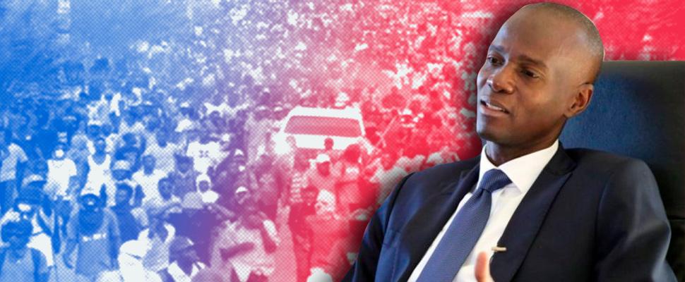 Presidente Jovenel Moïse, de fondo las protestas de manifestantes haitianos