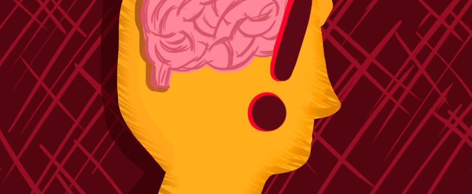 Silueta de la cabeza de una persona vista lateral y cerebro con signo de admiración