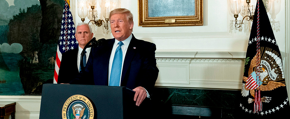 US President Donald J. Trump makes a statement at the White House in Washington, USA