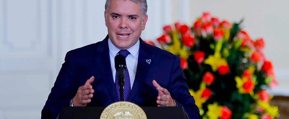 The president of Colombia, Ivan Duque in Bogotá (Colombia).