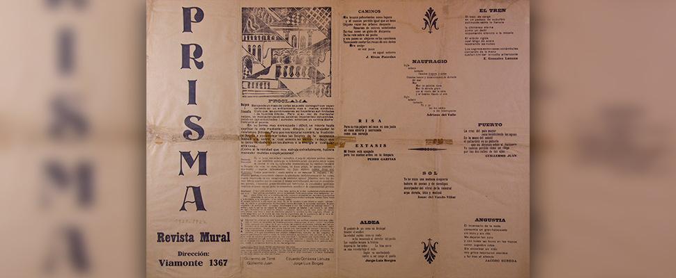 Reproducción de un ejemplar de la revista-mural Prisma del literato argentino Jorge Luis Borges.