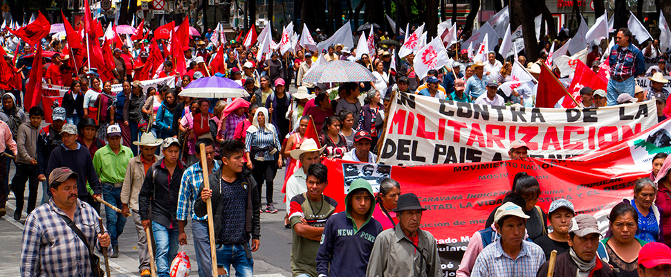 Thousands of peasants march along the central Paseo de la Reforma in Mexico City (Mexico).