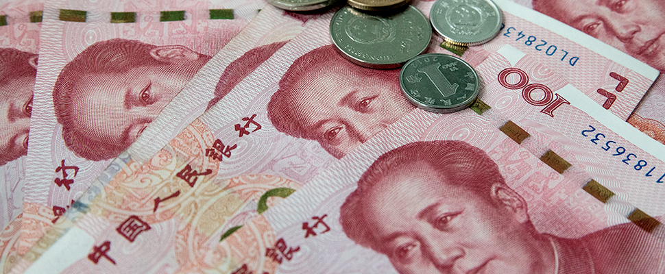 Chinese yuan or renminbi (RMB) notes and coins in Beijing, China