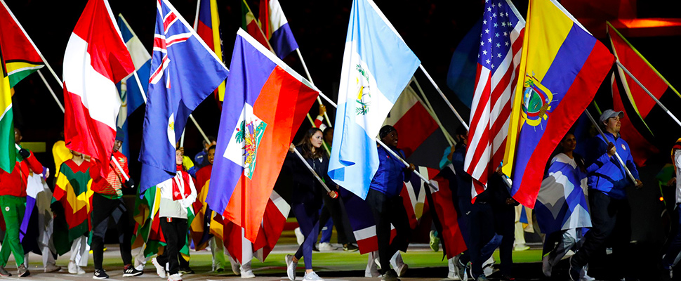 Flag bearers of the delegations participate in the closing ceremony of the Pan American Games 2019