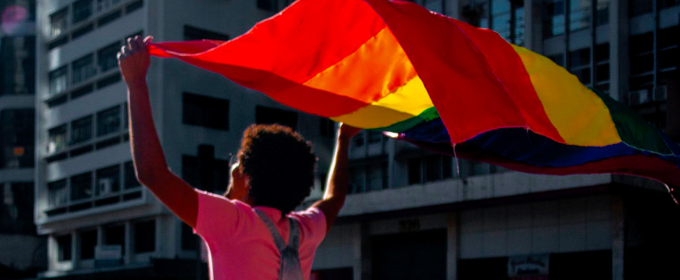 Man holding flag of LGBT community