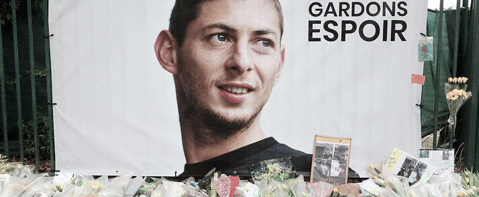 Tribute to Argentine soccer player Emiliano Sala of FC Nantes in La Joneliere, Nantes, France