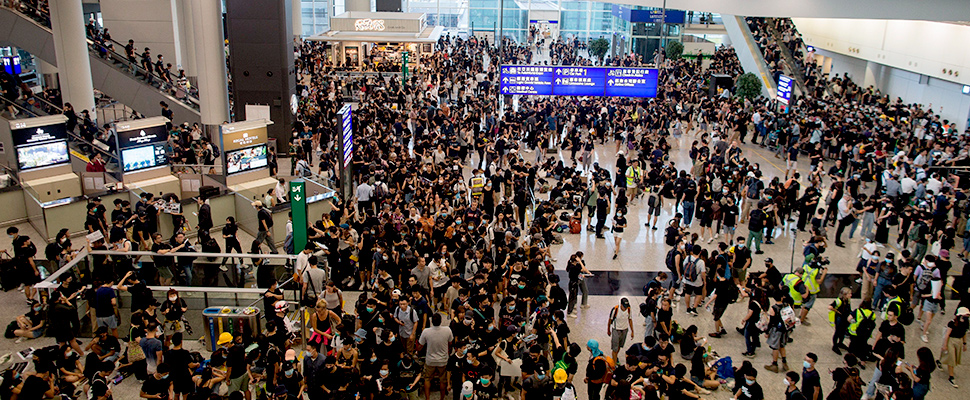 Hong Kong airport suspends flights due to protests.