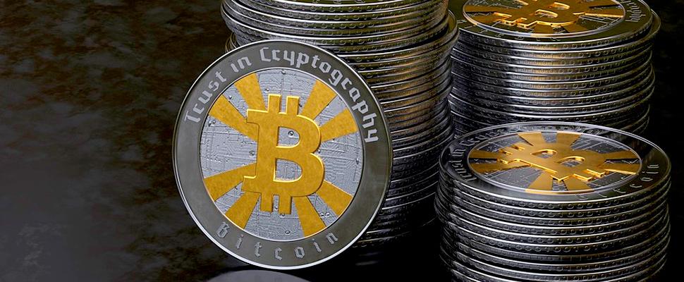 Bitcoin coin stack.