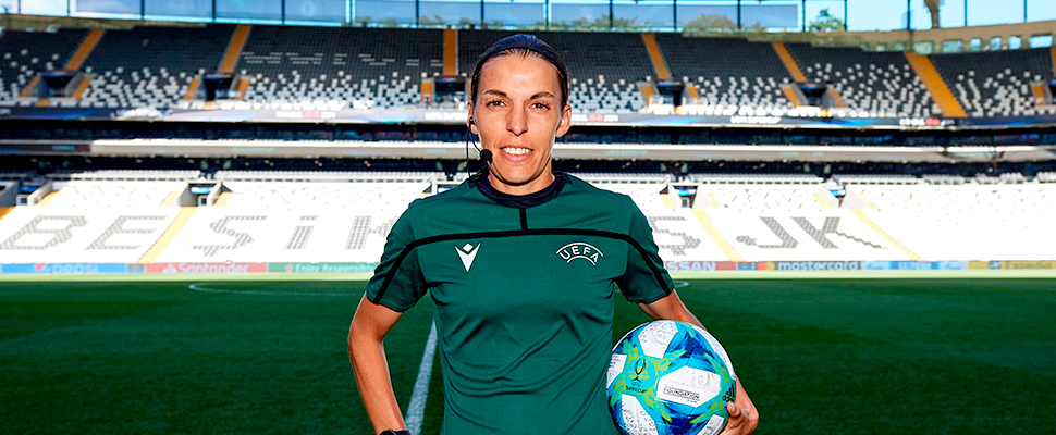 Main referee Stephanie Frappart of France posing with the official match ball ahead of the UEFA Super Cup Final