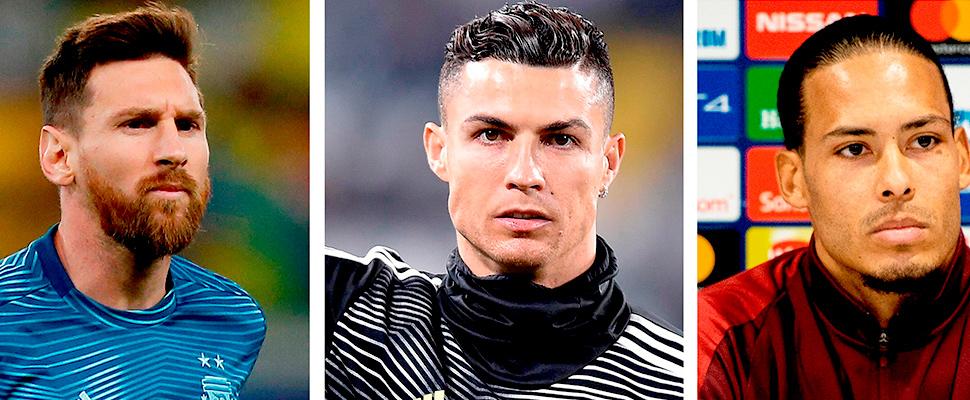 El argentino Leo Messi, el portugués Crisitano Ronaldo y el holandés Virigl van Dijk
