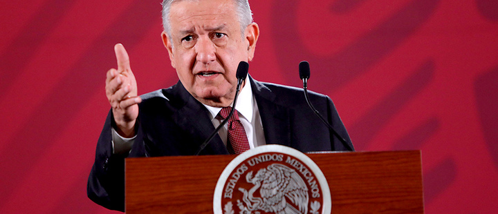The president of Mexico, Andrés Manuel López Obrador, speaks during his morning press conference at the National Palace