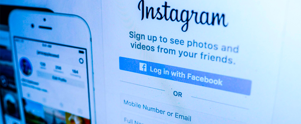 Photograph of the Instagram application login screen.