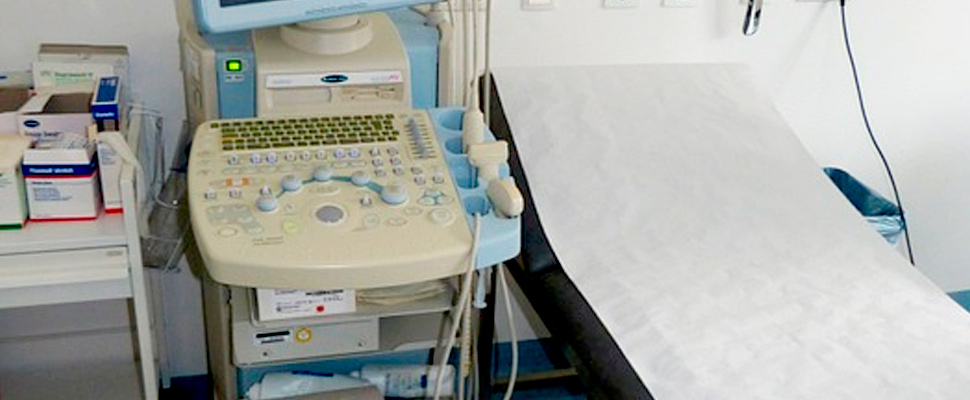 Medical office with ultrasound machine.