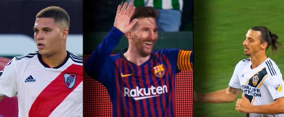 Juan Fernando Quintero, Lionel Messi y Zlatan Ibrahimovic.