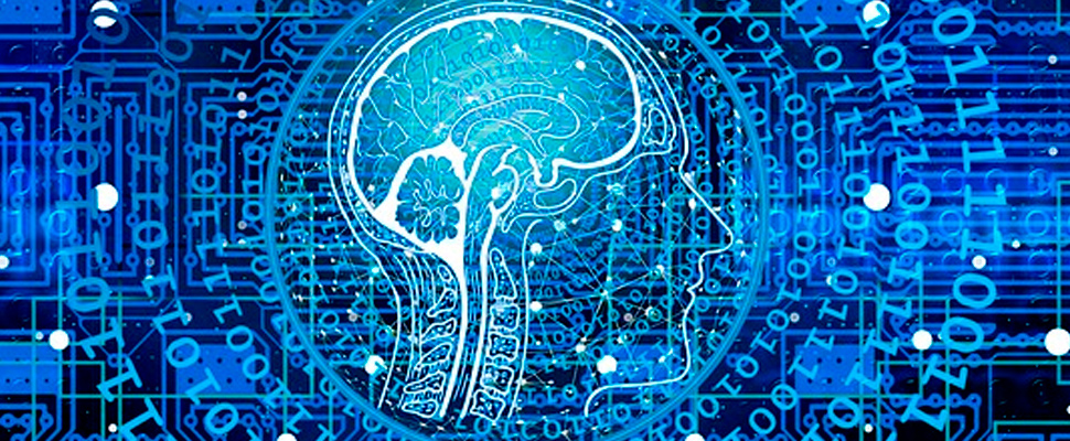 Brain inside a silhouette of a person, on a background of computer code.