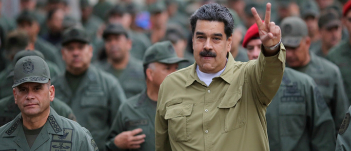 Venezuela's President Nicolas Maduro gestures during a meeting with soldiers at a military base in Caracas, Venezuela