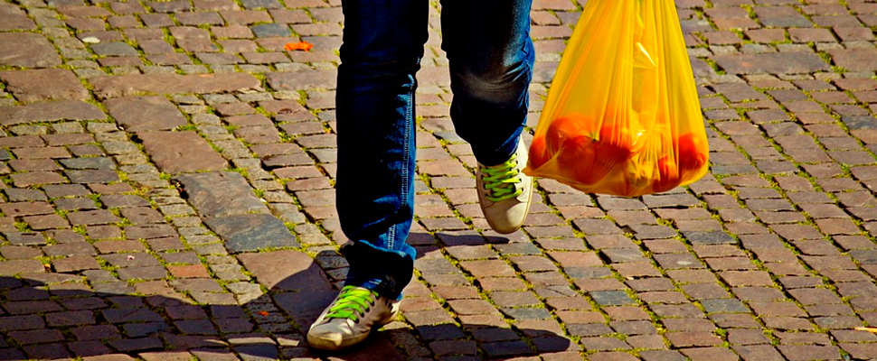 Person carrying a plastic bag