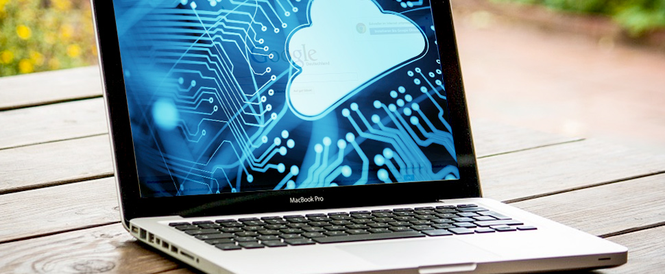 Laptop with an image of the cloud in technology