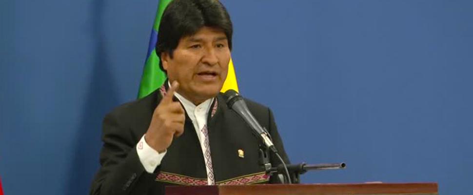 Presidente de Bolivia, Evo Morales, durante un discurso
