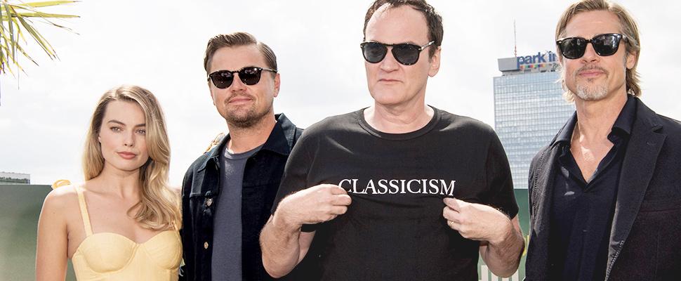 Quentin Tarantino y los actores Brad Pitt, Leonardo DiCaprio y Margot Robbie