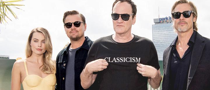 Quentin Tarantino and actors Brad Pitt, Leonardo DiCaprio and Margot Robbie