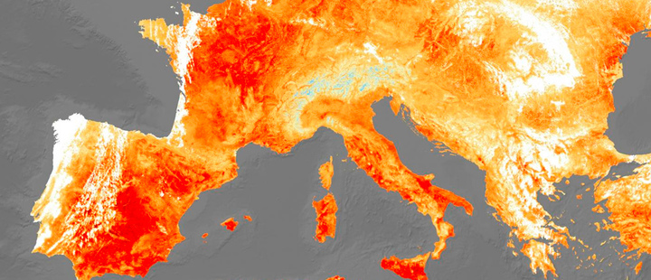Satellite image of the heat energy emitted from Europe