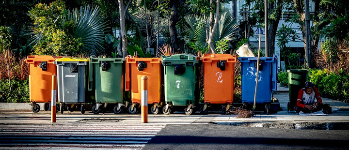 Garbage and recycling separation containers