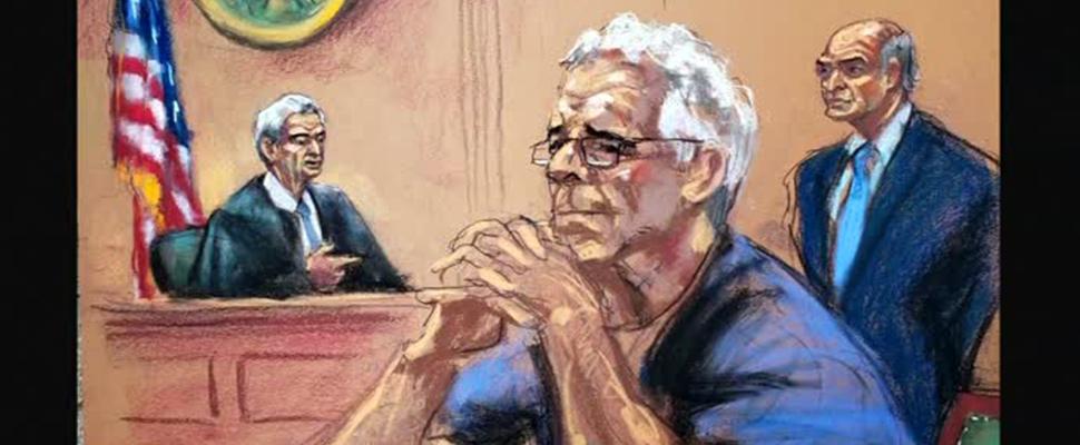 Sketches of accused financier Jeffrey Epstein in court.