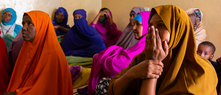 A group of women attends a meeting organized by Somaliland Family Health Association (SOFA) in Sanani, Somaliland