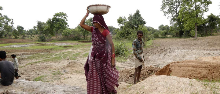 A Jal Saheli, balances a container full of gravel to construct a new check dam in Agroutha village of Bundelkhand, India