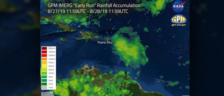 This image shows estimated rainfall accumulations for the region affected by Hurricane Dorian.