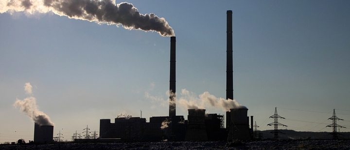 Industrial machinery emitting carbon dioxide in the environment