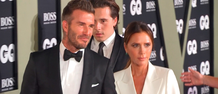 Victoria and David Beckham on the red carpet.