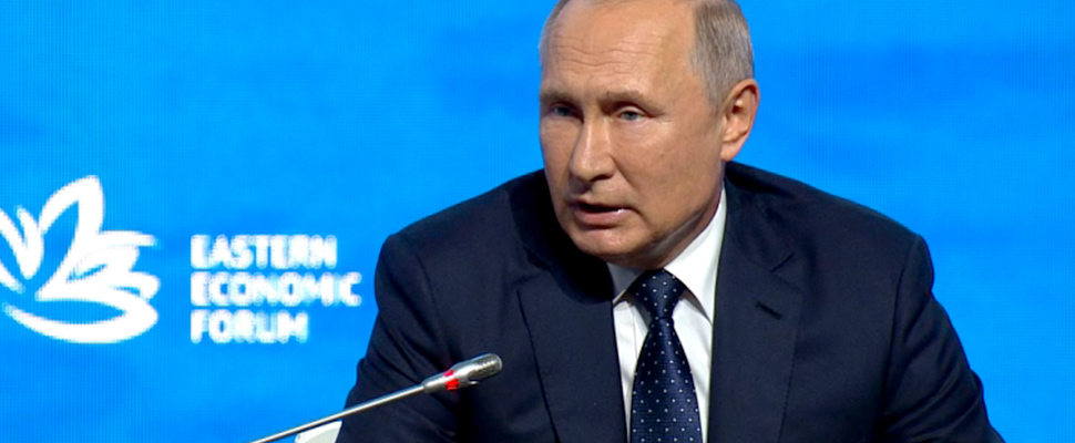 The president of Russia, Vladimir Putin, in the Eastern Economic Forum.
