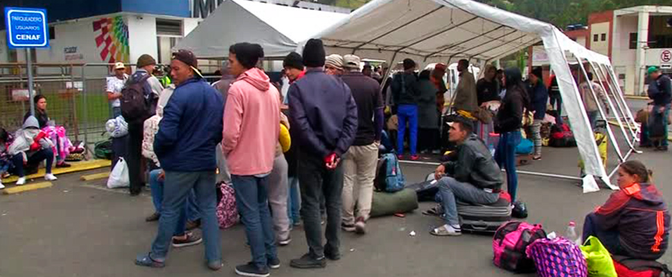Grupo de migrantes venezolanos.
