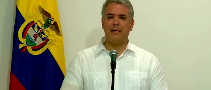 President of Colombia, Ivan Duque, during a press conference.