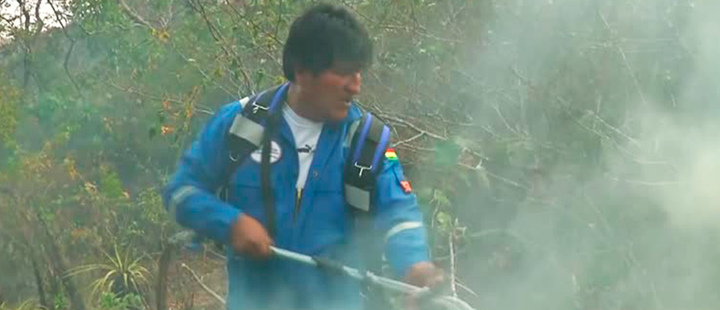 President of Bolivia, Evo Morales, putting out fires in the Amazon