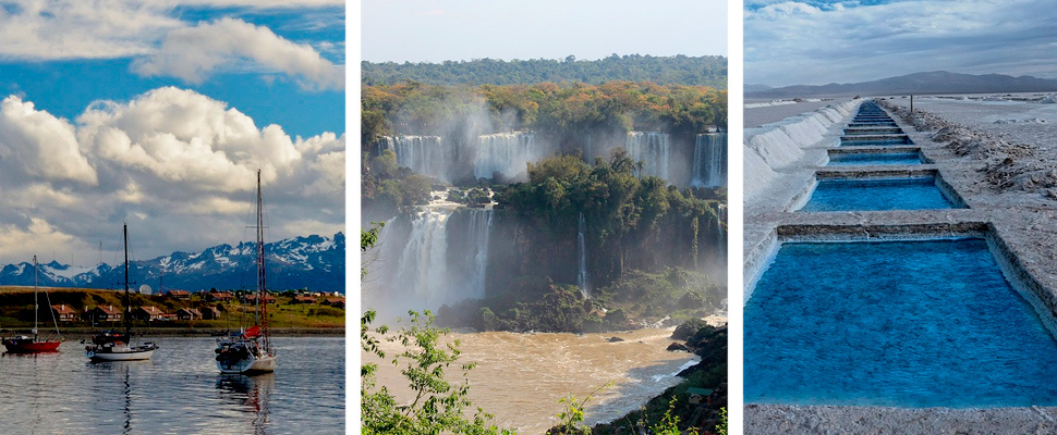 Photographs of Ushuaia, Iguazú, Jujuy in Argentina.