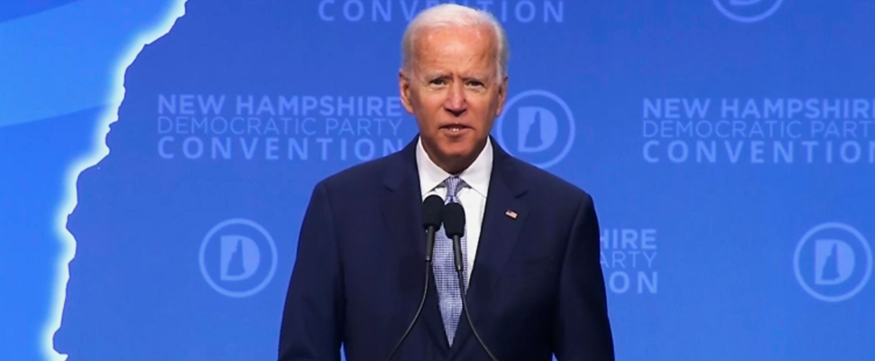 Vice President and Democratic presidential candidate Joe Biden participates in a forum in New Hampshire.